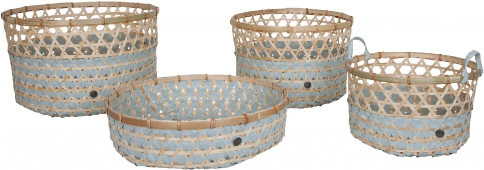 Handed By Bamboo Basket Set Greyish Green