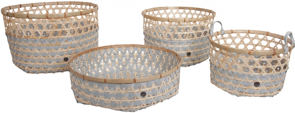 Handed By Bamboo Basket Set Flint Grey