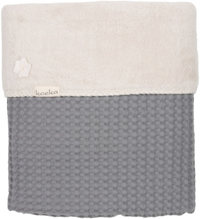 Koeka Ledikantdeken Wafel/Teddy Oslo<br> Steel Grey/Pebble