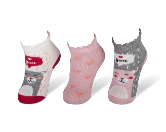Teckel Sokjes 3-Pack Bear Pink