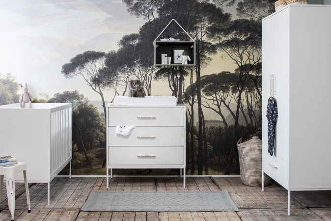 Coming Kids Ledikant 60-120(inclusief Peuterzijde) / Commode 3 Laden Flint