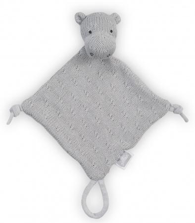 Knuffledoek Soft Knit Hippo Light Grey