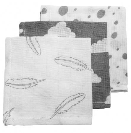 Meyco Hydrofiele Monddoekjes 3pack<br> Feather Grijs