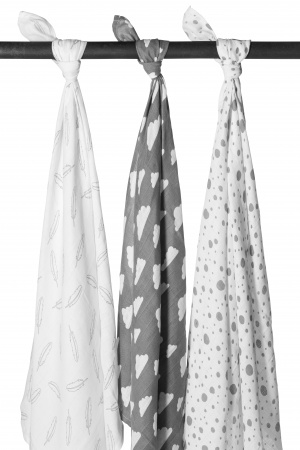 Meyco Hydrofiele Swaddles 3pack <br> Feather Grijs