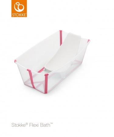 Stokke® Flexi Bath™ Bundel Transparant Pink (Inclusief Newborn Support)