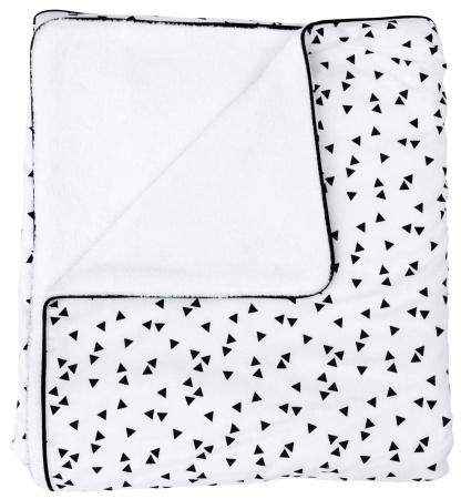 Petit Juul Ledikantdeken Black Triangle/ White Teddy<br> 100 x 140 cm