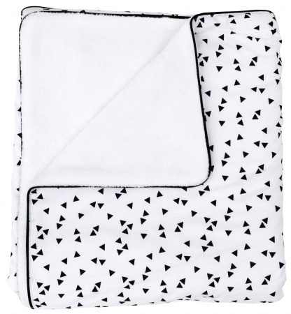 Petit Juul Wiegdeken Black Triangle/ White Teddy<br> 75 x 100 cm