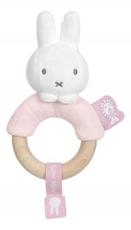 Tiamo Nijntje Safari Pink Rammelaar Met Houten Ring