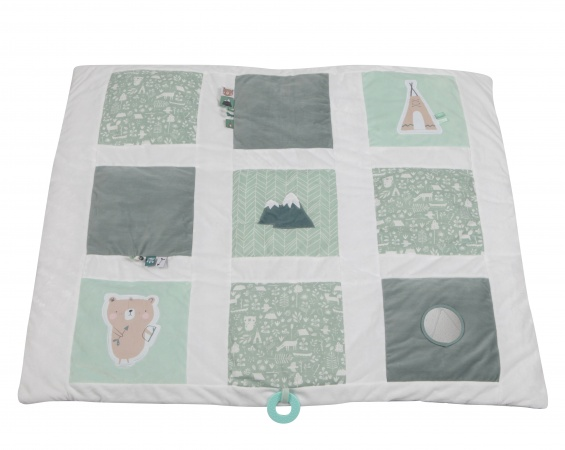Little Dutch Boxkleed Adventure Mint 9-Vlaks<br> 85 x 100 cm