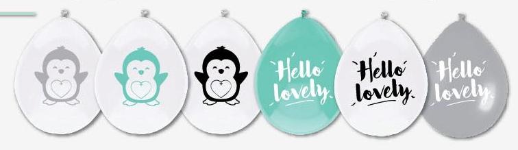 Ballon Hello Lovely Pinguin<br>6 stuks