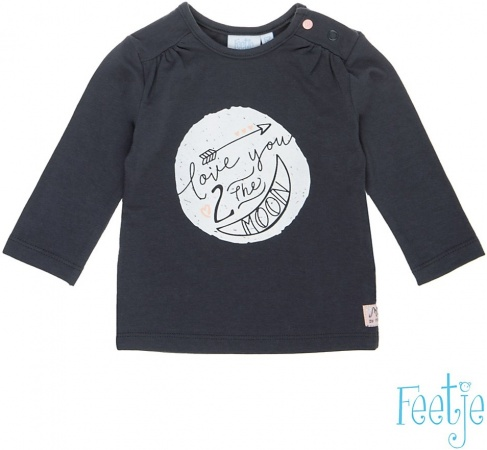 Feetje T-Shirt Moon Antraciet / Roze