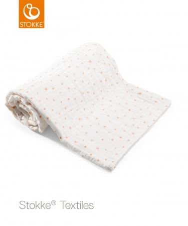 Stokke® Deken Muslin Organic Cotton Coral Bee <br> 100 x 100 cm