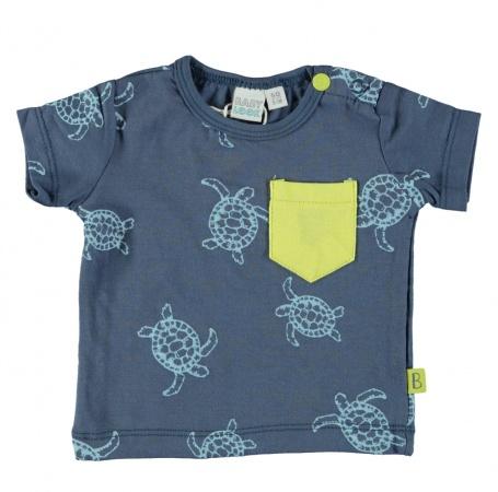 Babylook T-Shirt Korte Mouw Turtle Faded Denim