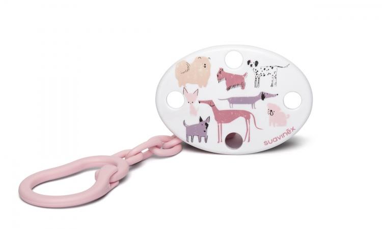 Suavinex Fopspeenketting Fusion Dog Pink