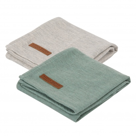 Little Dutch Swaddle 2Stuks Pure Mint/Grey <br> 70x70