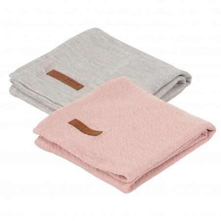 Little Dutch Swaddle 2Stuks Pure Pink/Grey <br> 70x70