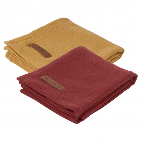 Little Dutch Swaddle 2Stuks Pure Indian Red/Ochre <br> 70x70