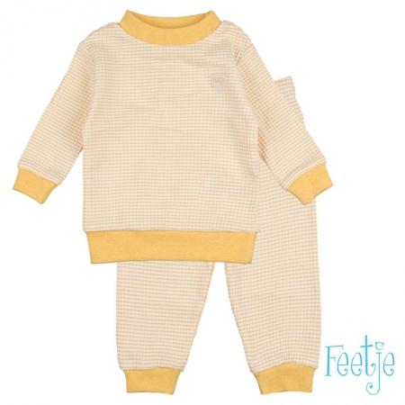 Feetje Pyjama Okergeel Wafel