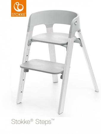 Stokke® Steps™ Chair Seat Grey Legs Oak Wood White