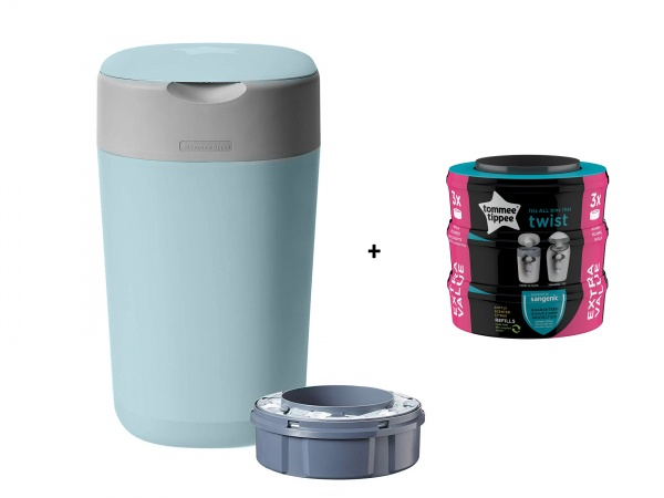 Tommee Tippee Sangenic Luieremmer Twist&Click Blue Inclusief 1 Navulling + 3 Pack Refill