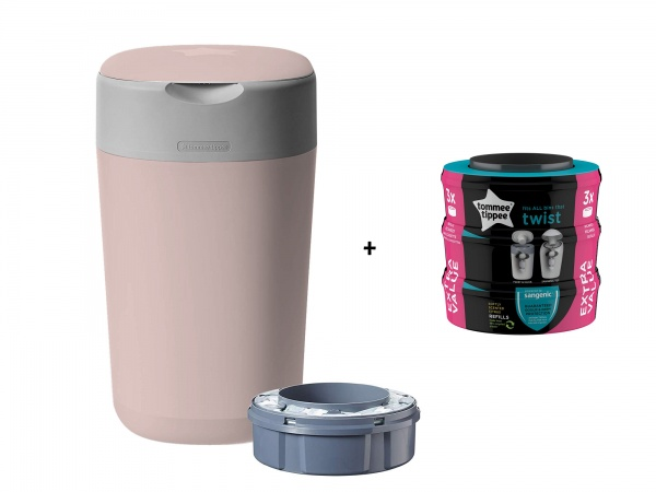 Tommee Tippee Sangenic Luieremmer Twist&Click Pink Inclusief 1 Navulling + 3 Pack Refill