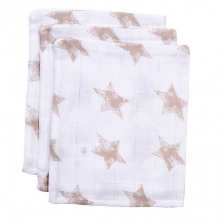 BD Collection Hydrofiele Washandjes Robin Wit/Taupe (3 stuks)