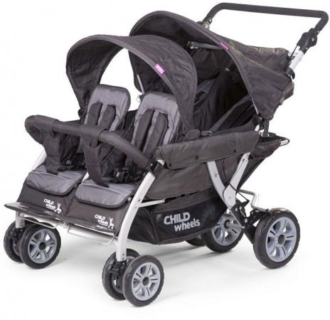 Childhome Quadruple Autobrake Wandelwagen Antraciet 4 Kinderen