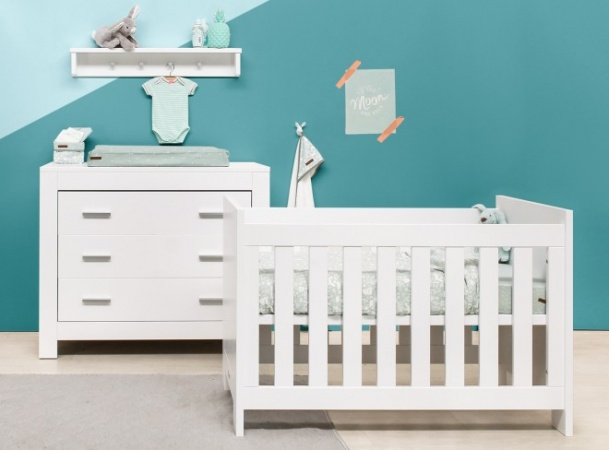Babykamer Merel Wit.Bopita Ledikant 60 120 Commode 3 Laden Merel White Bopita Baby