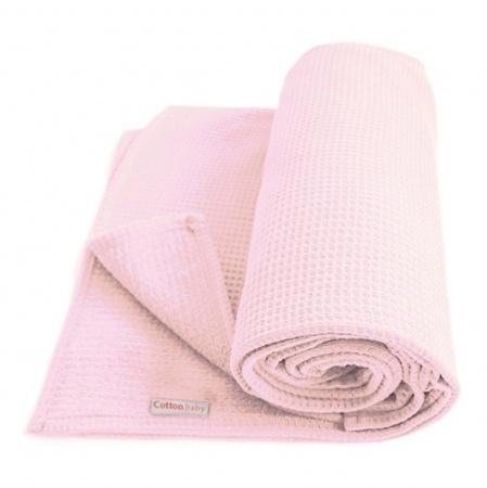 Cottonbaby Wiegdeken Wafel Roze<br/ > 75 x 90 cm