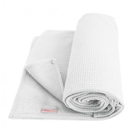 Cottonbaby Wiegdeken Wafel Wit <br/ > 75 x 90 cm