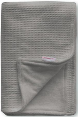 Cottonbaby Wiegdeken Gevoerd Wafel Donkergrijs<br/ > 75 x 90 cm