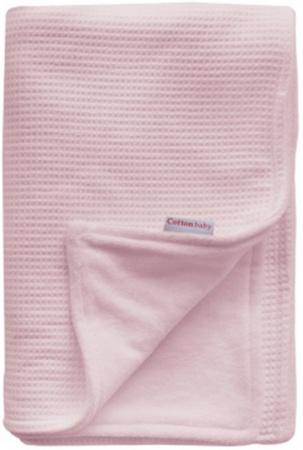 Cottonbaby Wiegdeken Gevoerd Wafel Roze<br/ > 75 x 90 cm