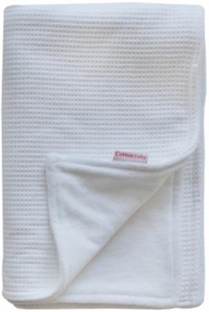 Cottonbaby Wiegdeken Gevoerd Wafel Wit <br/ >75 x 90 cm