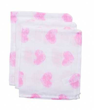 BD Collection Hydrofiele Washandjes Big Hart Wit/Roze (3 stuks)