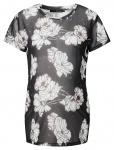 T-Shirt Mesh Flower Zwart