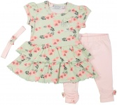 3-Delige Set Jurk Flowers Mint