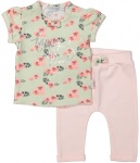2-Delige Set Shirt Flowers Mint