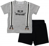 2-Delige Set Korte Mouw Stripe Black