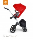 Stokke® Xplory® V6 Silver Chassis - Brown Leatherette Handle