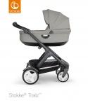 COMBI AANBIEDING Stokke® Trailz™ Black Classic Wheels with Black Leatherette Handle + Carry Cot