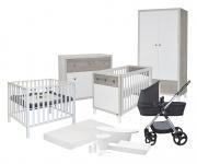 Combideal Complete Baby-Uitzet Kamer Brooklyn + Kinderwagen Pep + Reistas + Box Timo + Bad + Badstoel + Sitter + Muziekmobiel