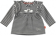 T-Shirt Ruffle Striped Black