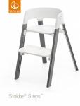 Stokke® Steps™ Chair Seat White Legs Beech Wood Storm Grey