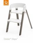 Stokke® Steps™ Chair Seat White Legs Beech Wood Hazy Grey