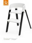 Stokke® Steps™ Chair Seat White Legs Oak Wood Black
