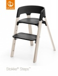 Stokke® Steps™ Chair Seat Black Legs Beech Wood White Wash