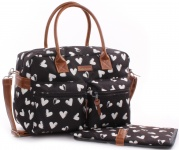 Kidzroom Diaperbag Black & White Femke Hearts
