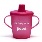 KiddyBoo Anti-Lekbeker I Love Papa Fuchsia