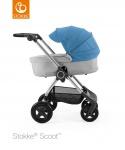 Stokke® Scoot™ Grey Melange Seat / Blue Kap en Stokke® Scoot™ Reiswieg Grey Melange