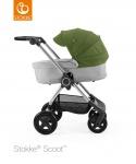 Stokke® Scoot™ Grey Melange Seat / Green Kap en Stokke® Scoot™ Reiswieg Grey Melange